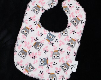 Pink and Gray Owls Fabric and Chenille Boutique Bib