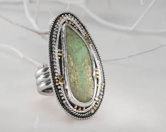 Green Stone Ring, Sterling silver Statement  Ring, Large Gemstone Rings for Women, Chrysoprase Ring, 22k Solid Gold, Cocktail Ring