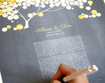 Personalized Modern Ketubah print Yellow Blush Tree of Life - Luxury Wedding gift - Abstract Watercolor Design by Elena Berlo