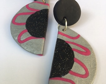 Purrling Drop Earrings. Polymer clay earrings. Sparkle, black, silver, pink,