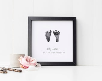 Baby Footprint Art Print, Personalized Foot Print Wall Art with Actual Footprints, Nursery Art, Newborn Gift, Infant Loss, Stillbirth Gift