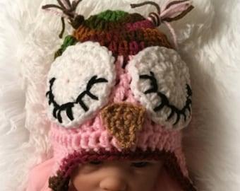 Sleepy Owl Hat/Sleepy OWL Baby Hat/crochet owl hat/baby owl hat/owl hat/Baby Girl Hat/Newborn Owl Hat/hat with earflaps/Ready to Ship
