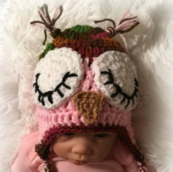 sleepy owl hat sleepy owl baby hat crochet owl hat baby owl