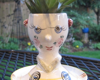 Air Plant Vase/Planter Head Vase, Bust, Egg Cup