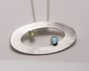 Sterling Silver Double Orbit Pendant with Sky Blue Topaz and Peridot on Cable Chain Necklace - 30% off!!