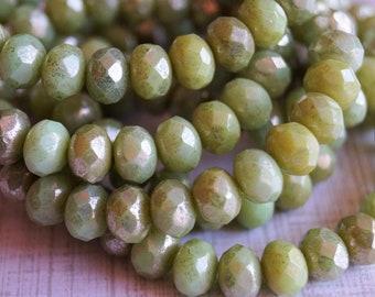 8x6mm Fire Polished Rondelle - Honeydew with Mercury Finish - Light Green - Premium Czech Beads - Bead Soup Beads - Czech Beads