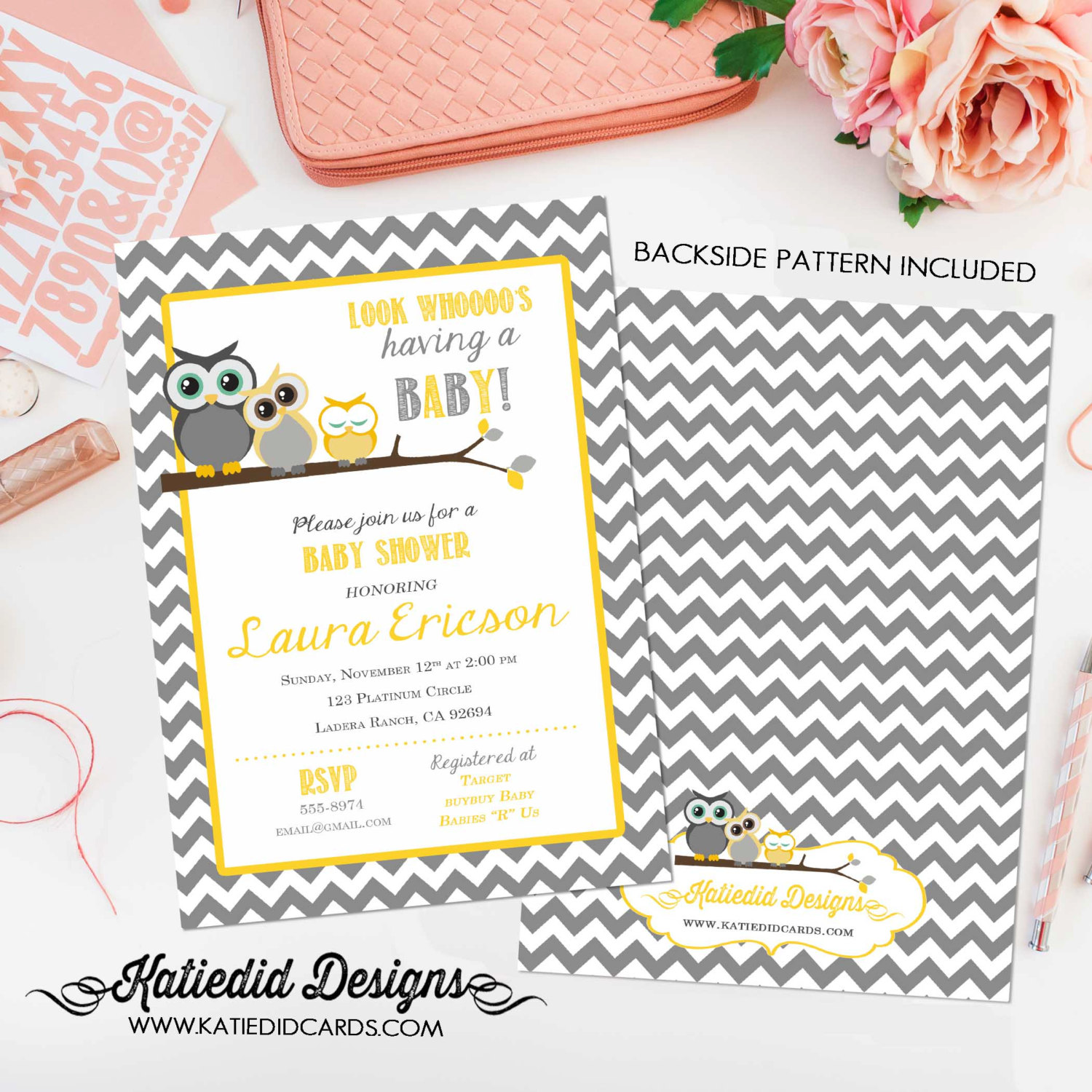gender reveal invitation Owl baby shower neutral couples coed diaper ...