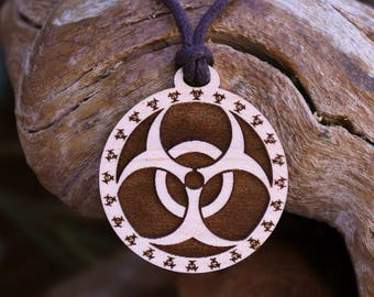 Biohazard Pendant Necklace - Laser Cut Homeade Engraved Women's Jewelry Gifts