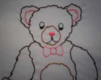 On Sale! Favorite Teddy Bear Embroidered Pillowcase, Teddy Bear Pillowcase, Favorite Teddy Pillowcase