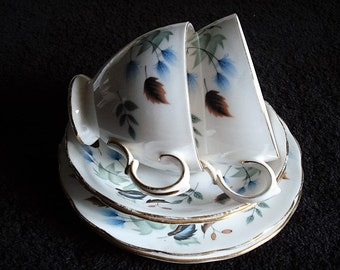 Set of 2 Blue Floral Trios, English, Fine Bone Porcelain, 2 Tea Cups, 3 Saucers & 2 Plates, Vintage Party Tableware, Cloclough, Tea Set
