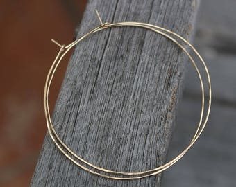 "2.5 inches large 14K gold filled hoops thin hammered texture Lightweight Valentine""s Day gift under 30"