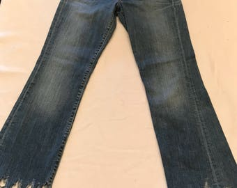 Upcycled blue denim jeans size 4 relaxed fit