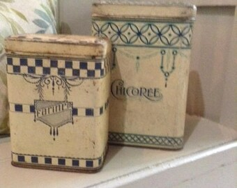 Vintage classic French tins for country kitchen storage (shabby chic)
