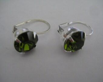 Lot of 4 Sterling Plated Leverback Pierced Earrings with 11mm Green Turmaline Rhinestones