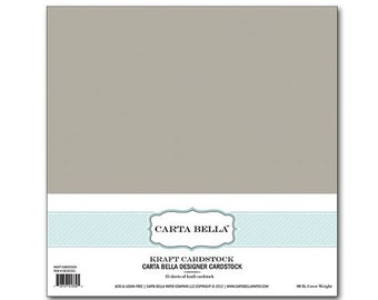 ON SALE Carta Bella Designer Cardstock Kraft 12x12 25 sheets