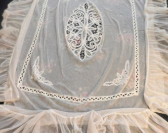 Antique French Lace Coverlet & Pillow Cover Set