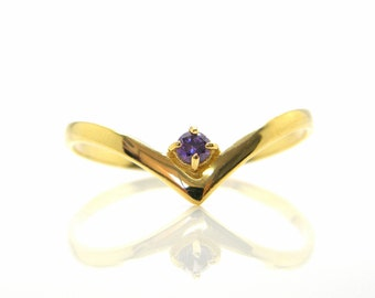 gemstone ring Stacking ring gold amethyst ring simple thin ring delicate birthstone ring promise ring purple stone ring Dainty gold ring