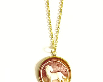 Capricorn Astrology Necklace, Astrology Necklace, Vintage Astrology Cameo Necklace