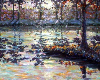 Lake Sunset Painting, Original Landscape, Oil on Canvas, Tree Reflections in Water, Sunrise - 16 x 20