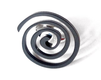 "Black ring , geometric ring ""Spiral"" in lasercut acrylic."