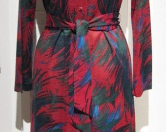 Vintage 1970s Country Miss Belted Button-Front V Necked Print Dress Vintage Size 10