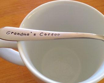 Grandma Gift,Grandmother,Grandmas Coffee,Nana,Grannie,Granny,Grandma,Present,Grandmother gift, Birthday,Gift For HerHand Stamped Teaspoon