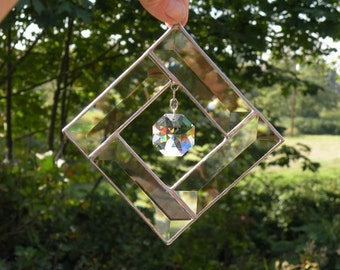 Stained Glass Beveled Sun Catcher window hanging with crystal