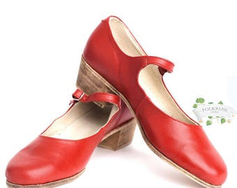 Woman Russian Dance Shoes, Red Shoes, Black shoes, White shoes, Leather dance shoes