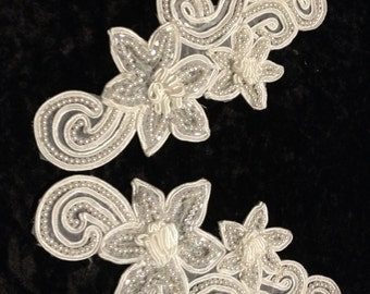 Ivory Satin Soutache Beaded Applique Pair for Bridal or Craft