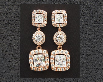 CZ Bridal Jewelry. Rose Gold Bridal Earrings 18902ERG. Square Round Square Halo CZ Earrings, Wedding jewelry, Mother of the Bride.