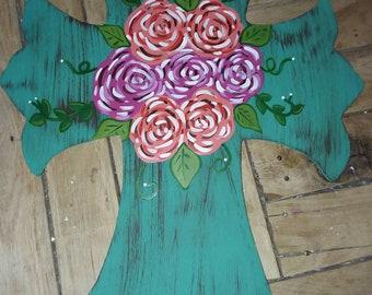 Fancy cross with roses door hanger