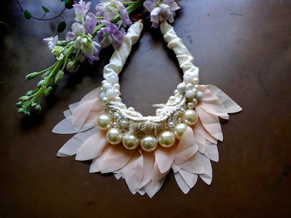 Boho bridal bib necklace - white fiber necklace