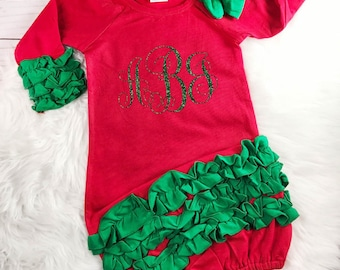 Personalized Christmas Outfit Baby Girl Christmas Outfit Babys First Christmas Newborn Baby Shower Gift Christmas Gown Monogram Newborn Gown