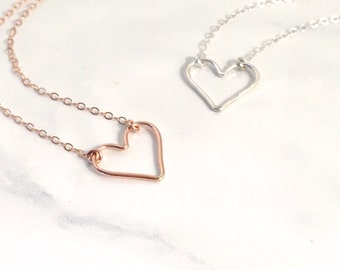 14kt Rose Gold Filled Open Heart Necklace, 925 Sterling Silver Open Heart Necklace, 14kt Gold Filled Open Heart Necklace