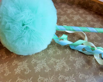 Tulle Pom Pom Magic Wand -Flower Girl Accessory Birthday Gift Halloween Costume Party Favor Photo Prop Dance Prop Tea Party Toy