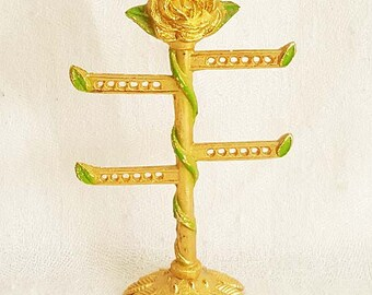 Earring Tree Stand Rose Top Gold Tone