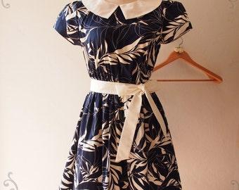 USD20 SALE -Size S-Modest Dress Navy Summer Dress Collar Sleeve Sundress Vintage Retro Working Midi Wedding Casual Party Tea Dress