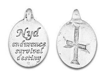 Rune Pendant, Rune Symbol, Nyd Rune, Norse Symbol, Celtic Symbol, Rune, Symbol, Endurance, Survival, Destiny, Pewter Charms, Made in USA