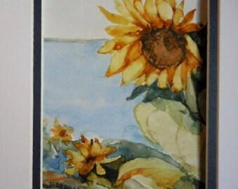 Sunflower watercolor, original watercolor, original painting,