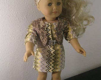 Yellow chevron dress, faux leather vest, belt, sandels 18 inch doll