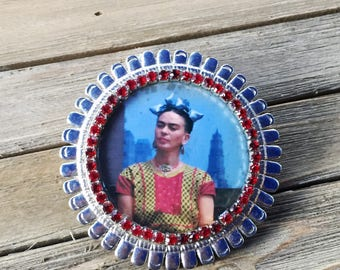 Frida Kahlo Rhinestone Belt Buckle