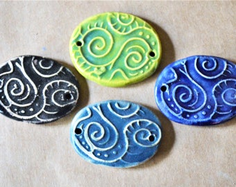 4 Handmade Ceramic Beads - Swirls and Spiral Bracelet Link Beads - Handmade Stoneware Connectors - Artisan Supplies - Jewelry Supplies