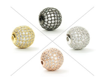 CZ Pave Bead, Cubic Zirconia Bead with Clear CZ, 6 ~ 12mm, 1 Piece, CB112
