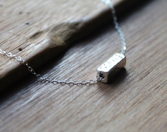 Lyndon Silver Bar Necklace on Sterling Silver Chain - Geometric Hammered Simplicity