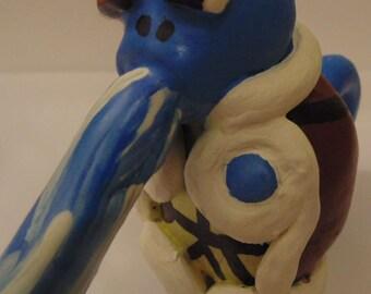 Handmade Squirtle Sculpture, Pokemon, Water-Type, Turtle, Water Gun, Blue, Yellow, White, Brown, Polymer Clay