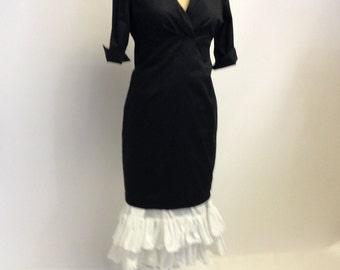 Handmade White Cotton Petticoat Ruffle Slip