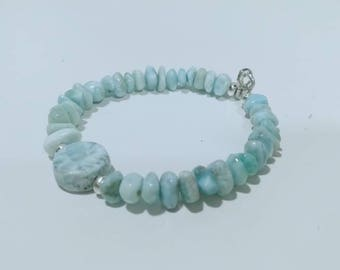 Tropical bridal jewelry Turquoise jewelry Red Larimar bracelet 8 inches length
