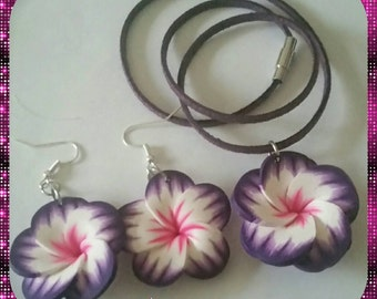 Purple Polymer Clay Flower Suede Choker Set