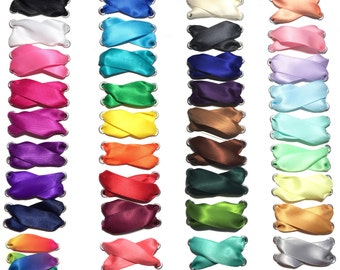 """Satin Ribbon Shoelaces 5/8"""" Premium Quality Pair Choose Your Color 27 inch Toddler Baby Shoelaces"""