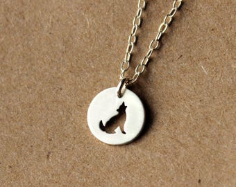 Sterling Silver Wolf Necklace - Handcrafted Silver Jewelry - Silver Necklace